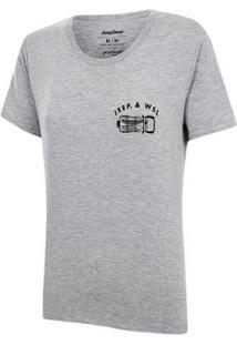 Camiseta Especial Jeep E Wsl Wrangler Trip Feminina - Feminino-Mescla Claro