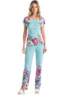 Pijama Estela Longo - O404 Azul Malibu/P