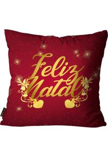 Capas Para Almofada Premium Cetim Mdecore Natal Feliz Natal Vermelha 45X45Cm - Tricae