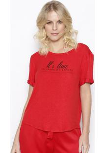 """Camiseta """"It'S Time"""" Com Linho- Vermelha & Preta- Sosommer"""