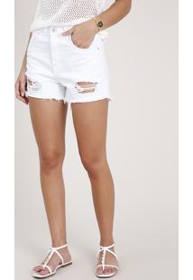 Short De Sarja Feminino Cintura Super Alta Destroyed Branco
