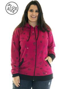 Jaqueta Konciny Moletom Estampado Plus Size 85218 Rosa