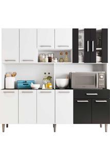Cozinha Compacta 12 Portas E 1 Gaveta Com Tampo Clara - Poliman - Branco / Preto