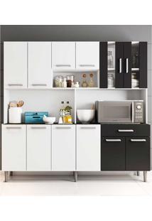 Cozinha Compacta Com Tampo Clara - Poliman - Branco / Preto