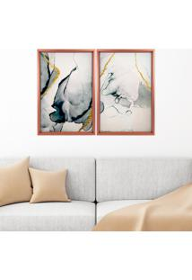 Quadro Love Decor Com Moldura Chanfrada Abstrato Rose Metalizado - Grande