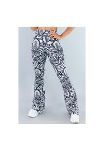 Calça Feminina Mvb Modas Flare Pantalona Suplex Mandala