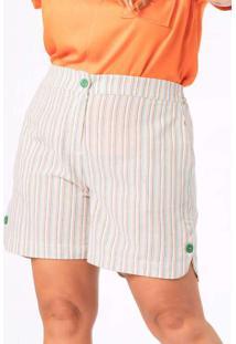 Shorts Almaria Plus Size Munny Listrado Multicores