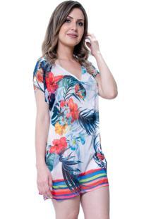 Blusa Estampada 101 Resort Wear Tunica Saida De Praia Decote V Fendas Floral Branca