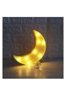 Luminária Led Abajur Luz Decoracão Modelo Lua Amarelo