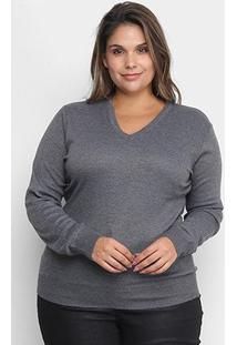 Suéter Tricô City Lady Gola V Plus Size Feminino - Feminino-Chumbo