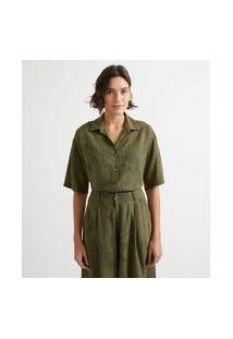 Camisa Manga Curta Com Decote V Em Viscolinho E Estampa De Folhagem | Marfinno | Verde | G