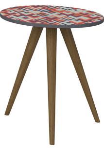 Mesa De Canto Circular 51,5 Cm 1006 Retro Espresso/Estampa Vermelha - Bentec