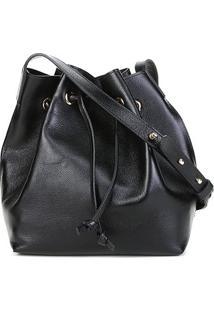 Bolsa Couro Shoestock Bucket Lisa Feminina - Feminino-Preto