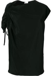 Lanvin Blusa Assimétrica De Seda Com Amarração - Preto