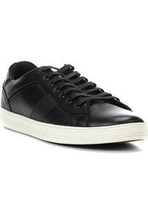 Tênis Couro Shoestock Recorte Masculino - Masculino-Preto