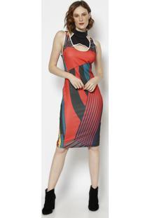 9ab938bb8 R$ 165,99. Privalia Vestido Com Zíper & Vazado- Laranja & Cinza Escuro- Morena  Rosa
