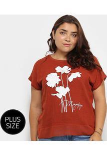 Blusa City Lady Flores Megnifique Plus Size Feminina - Feminino-Marrom