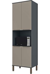 Paneleiro Torre Quente Modulado 4 Portas 1 Nicho Para Forno Verace Siena Móveis Titanio/Taupe