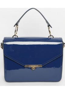 Bolsa Em Couro Envernizada- Azul Marinho- 26X29X10Cmjorge Bischoff