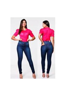 Calça Jeans Feminina Corpete Biotipo Hot Pant Azul