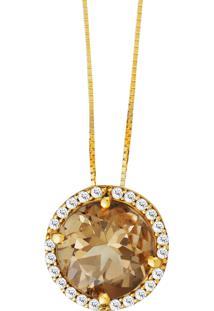 Pingente Em Ouro Amarelo 18K Com Diamante, Quartzo Green Gold - Euphoria