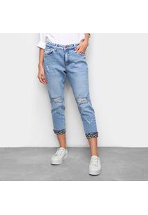 Calça Jeans Malwee Boyfit Rasgada Onça Feminina - Feminino