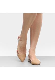 Sapatilha Shoestock Bico Fino Hibisco Feminina - Feminino-Bege