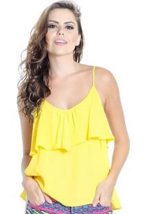 Blusa Alça Fina Babado Decote Colcci Feminino - Feminino-Amarelo