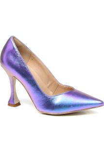 Sapato Feminino Scarpin Zariff Salto Taça Holográfico