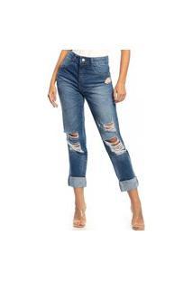 Calça Biotipo Jeans Feminina Mom Destroyed Cintura Media 26956 Azul