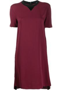 Karl Lagerfeld Vestido Reto Bicolor - Vermelho