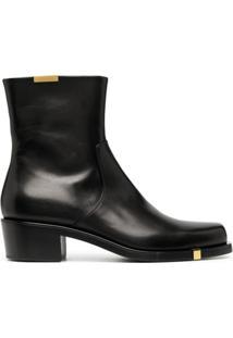 Rochas Ankle Boot De Couro Com Aplicações - Preto