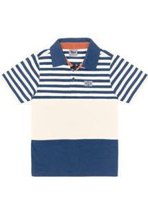 Camisa Polo Infantil Trick Masculina - Masculino-Azul