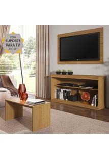 """Rack Com Painel E Suporte Para Tv Atã© 55"""" Com Mesa De Centro Inovare Multimã³Veis Natural - Incolor - Dafiti"""