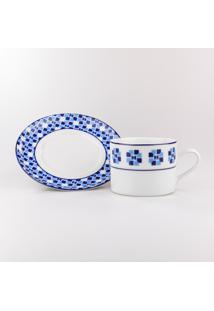 Conjunto De Xicaras Para Chá C/ Pires Porcelana Schmidt 06 Peças - Dec. Athena