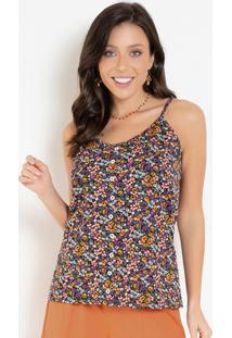 Blusa Floral Preta Com Botões Decorativos