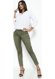 Blusa Com Recorte Vazado & Vivos - Off White & Verde Clavip Reserva