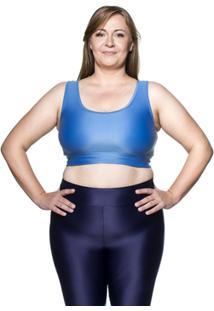 Top Fitness Plus Size Ju New - Azul Médio - Ps - Feminino
