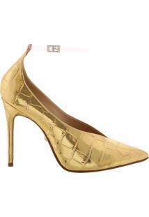 Scarpin Vinil Croco Golden   Schutz