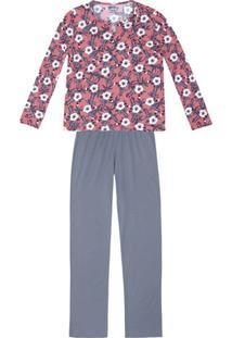 Pijama Feminino Em Malha De Algodão Estampado Com Abertura No Decote