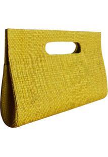 Carteira Bolsa De Mão Clutch Artestore Em Palha De Buriti Amarela