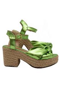 Sandália Salook Verde Metalizado Solado Corda