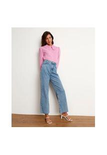 Calça Reta Jeans Cintura Super Alta Com Fenda Azul Claro