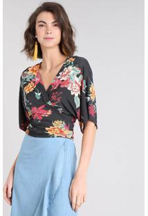 Blusa Feminina Cropped Transpassada Estampada Floral Manga Curta Decote V Preta