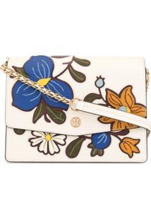 Tory Burch Robinson Floral Appliqués Shoulder Bag - Branco