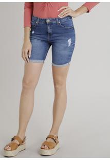 Bermuda Jeans Feminina Com Puídos Azul Escuro