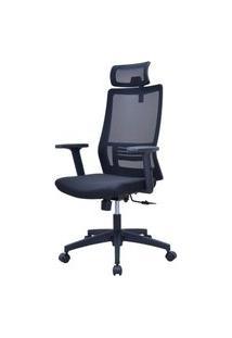 Cadeira Office Rowe Tela Preta Base Nylon Rodizios - 58458 Preto