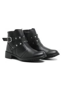 Bota Coturno Casual Feminino Ankle Boots Fivela Cloe Preto