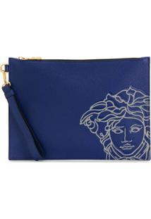 Versace Clutch Com Estampa Medusa - Azul