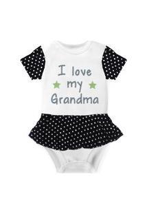Body Com Saia Nerderia E Lojaria Love Grandma Branco..